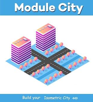 Parte del distrito del bloque de módulo isométrico 3d