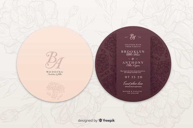 Parte posterior y frontal de una invitación de boda