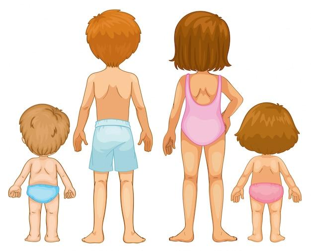 Parte posterior de los niños y niñas