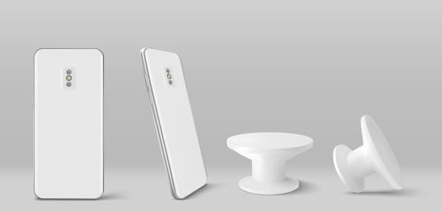 Parte posterior del teléfono inteligente y soporte de toma de corriente en la vista frontal y en ángulo
