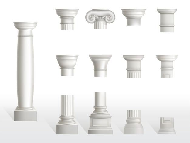 Partes de la antigua columna, base, eje y conjunto de capital. pilares adornados clásicos antiguos de la arquitectura romana o de grecia, piedra de mármol blanca. toscano, dórico, orden jónico. ilustración de vector 3d realista