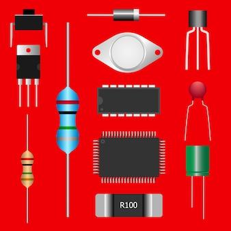 Partes electrónicas del circuito electrónico.