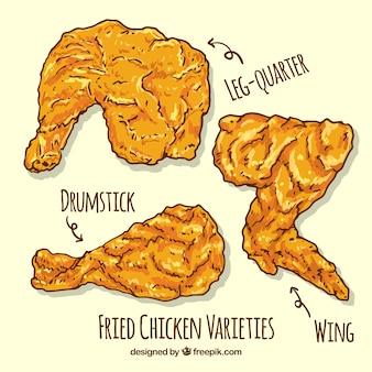 Partes de pollo frito dibujadas a mano