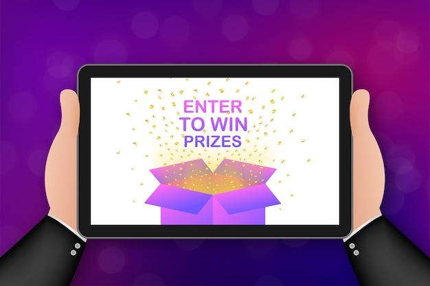 Participa para ganar premios. caja de regalo roja abierta y confeti.