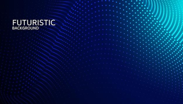 Partícula digital abstracto de la onda en fondo azul