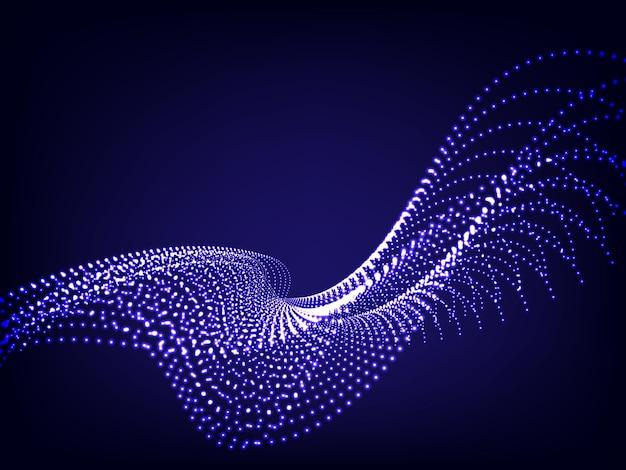 Partícula de onda ondulada azul sobre azul oscuro.