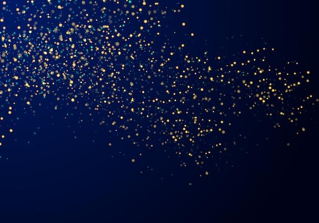 Partículas abstractas brillo dorado fondo azul