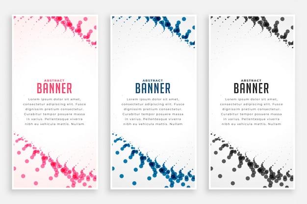 Partículas abstractas semitonos verticales banners en tres colores.