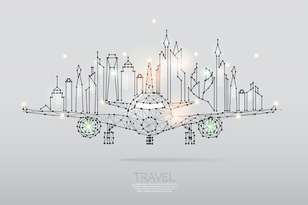 Las partículas, arte geométrico, línea y punto de ciudad con plano aéreo.