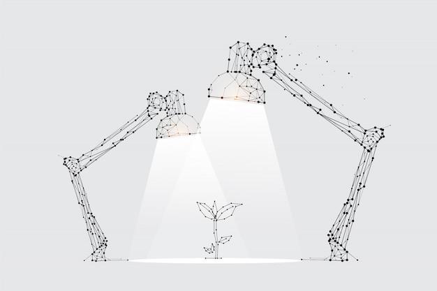 Las partículas, arte geométrico, línea y punto de iluminación de la lámpara.
