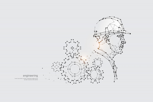 Las partículas, arte geométrico, línea y punto de ingeniería.