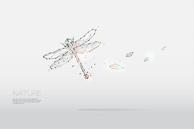 Las partículas, arte geométrico, línea y punto de libélula