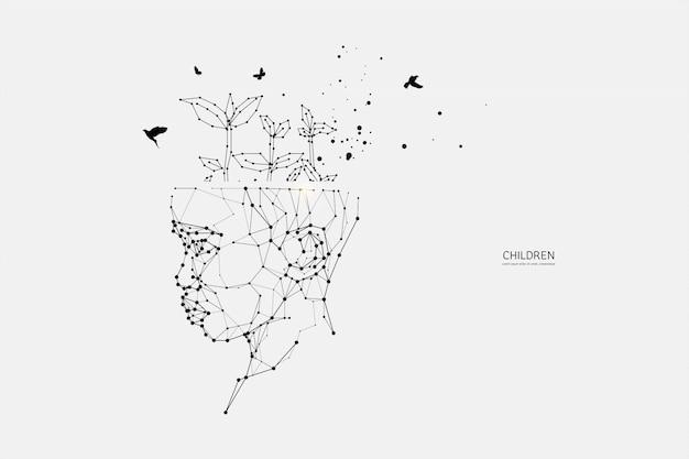 Partículas, arte geométrico, línea y punto de niños