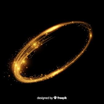 Partículas brillantes en espiral estilo realista.