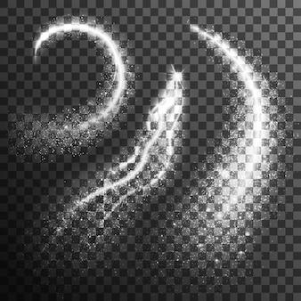 Partículas brillo negro blanco conjunto transparente