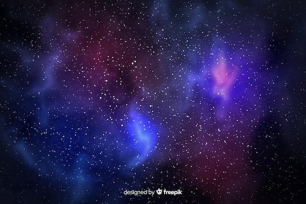Partículas de galaxia y fondo de vista estrellada