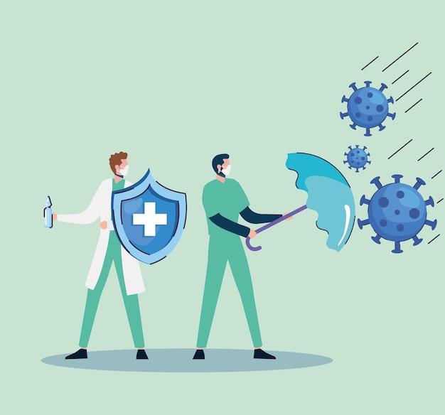 Partículas con médicos levantando paraguas y escudo ilustración