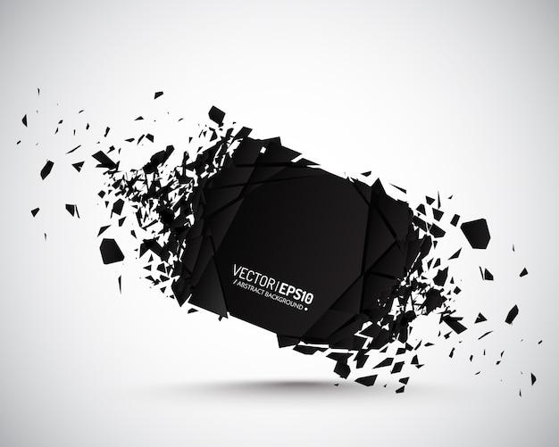 Partículas negras cuadradas con efecto explosivo.