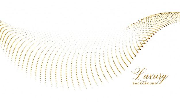 Partículas de onda de chispa dorada sobre fondo blanco.