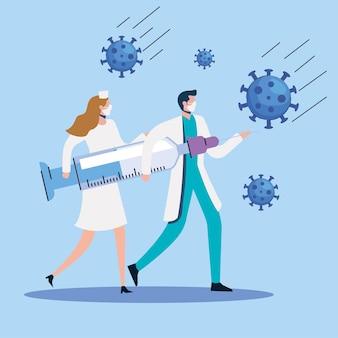 Partículas con pareja de médicos y jeringa ilustración
