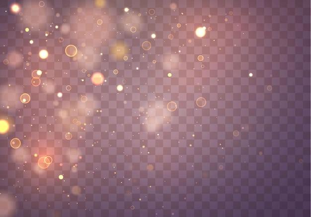 Partículas de polvo amarillo oro mágico espumoso. efecto bokeh.