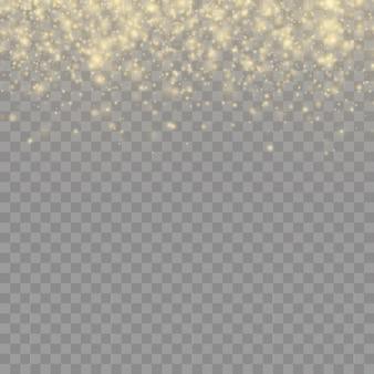 Partículas de polvo mágico dorado brillante sobre fondo transparente, brillo, luces brillantes, chispas de polvo amarillo y brillo de estrella con luz especial, efecto de luz,.
