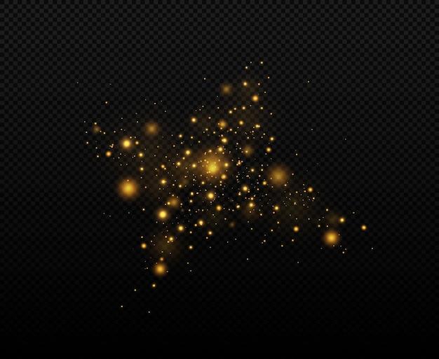 Partículas de polvo mágico espumoso efecto bokeh polvo amarillo