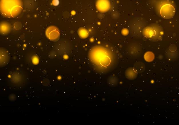 Partículas de polvo mágico espumoso. efecto bokeh.
