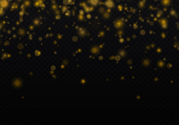 Partículas de polvo de oro mágico espumoso luz brillante resplandor fondo bokeh vector de partículas de brillo