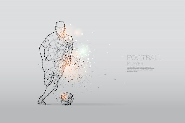 Las partículas y el punto de línea del movimiento del jugador de fútbol