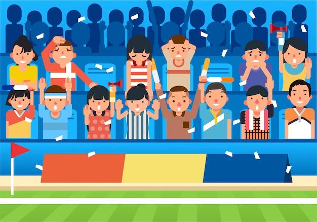 Partidario animando desde el asiento del estadio al lado del campo de fútbol, feliz y triste partidario ilustración vectorial
