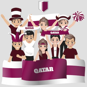 Partidario de la selección nacional de fútbol de qatar para la competencia estadounidense