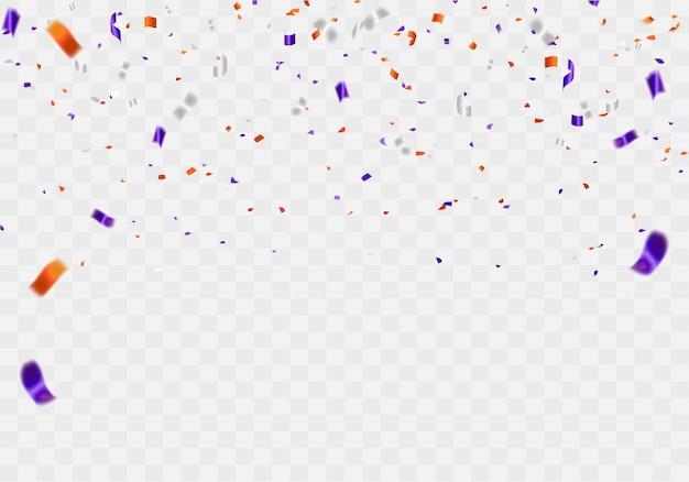 Partido de diseño de concepto de confeti púrpura naranja