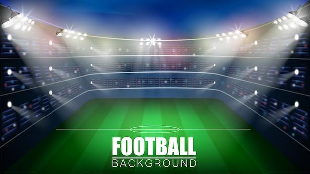 Partido de fútbol. fondo del vector 3d del estadio del campeonato mundial. plantilla de póster de fútbol.