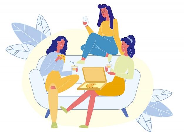 Partido de gallina, amistad femenina ilustración vectorial
