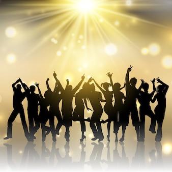 Partido personas en el fondo de oro starburst