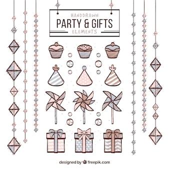 Partido y regalos elementos drenados mano