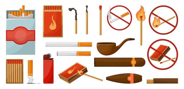 Partidos conjunto grande. cerilla encendida con fuego, caja de fósforos abierta, carbón. luces. no firme fuego. estilo de dibujos animados de ilustración vectorial aislado.
