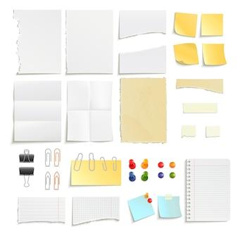 Pasadores de clips y varias notas de papel raya palo desigual conjunto de objetos realista