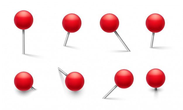 Pasadores de empuje. perno de metal con perilla roja redonda de plástico, chincheta en diferentes ángulos de empuje. conjunto aislado de marcador de escuela de vector 3d