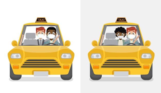 Pasajero enmascarado en taxi con conductor enmascarado.