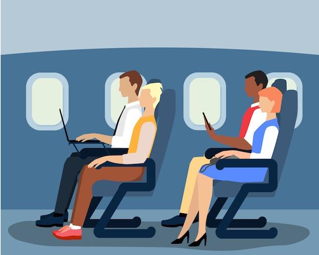 De pasajeros de aerolínea en el avión