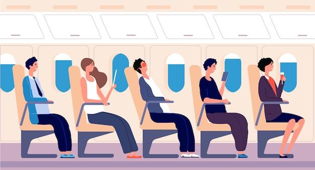 Pasajeros de aerolíneas. personas que viajan con tableta y teléfono inteligente dentro del tablero del avión. concepto de turismo de transporte aéreo. personas viajero pasajero, turista en avión dormir, leer ilustración