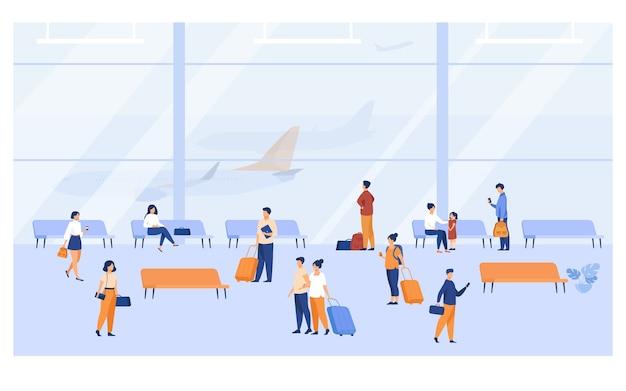 Pasajeros dentro del edificio del aeropuerto con grandes ventanas panorámicas ilustración vectorial plana. personaje de dibujos animados esperando avión, sentado en bancos, caminando con equipaje.