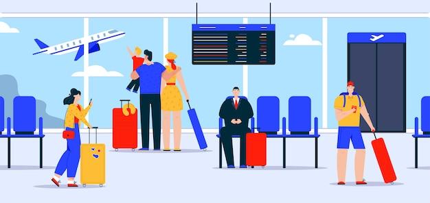 Pasajeros con equipaje en la sala de espera del aeropuerto. la familia y el niño miran en un avión volando en una ventana grande en el hall de la terminal