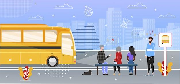 Pasajeros esperando el autobús en la parada plana
