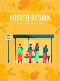 Pasajeros esperando el transporte público en la parada de autobús ilustración vectorial plana. personajes de dibujos animados usando auto. concepto de transporte y transporte