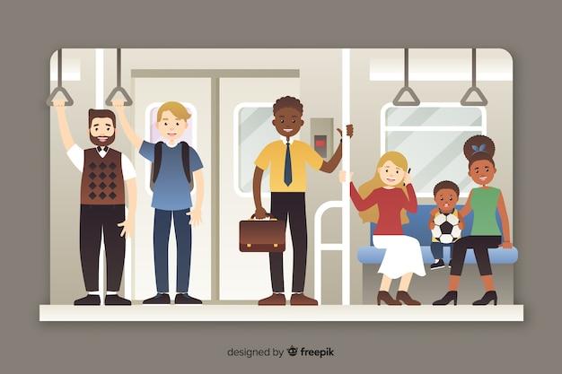 Pasajeros que utilizan el metro de estilo plano.