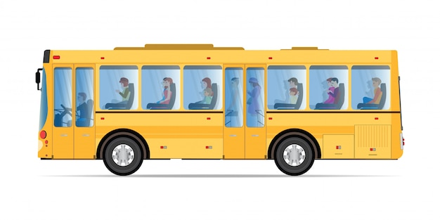 Pasajeros que viajan en autobús público.