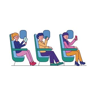 Pasajeros que viajan en avión ilustración plana